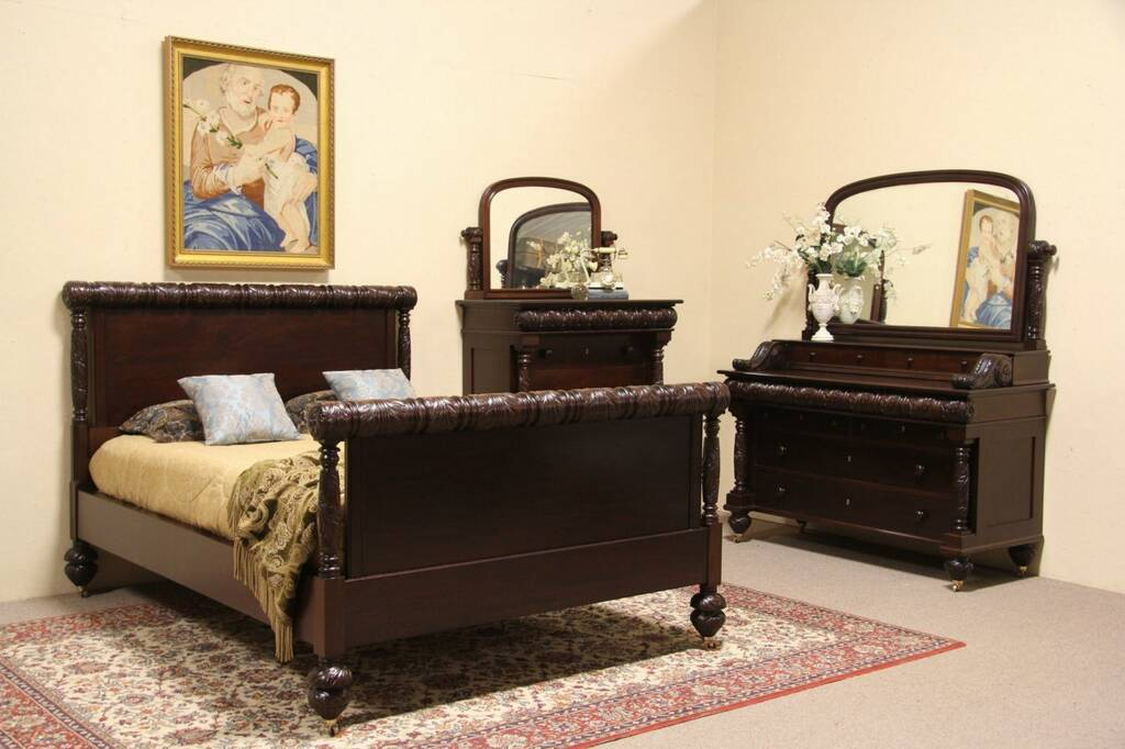 SOLD Tobey Of Chicago Carved Mahogany Empire Queen Size 3 Pc Bedroom Set