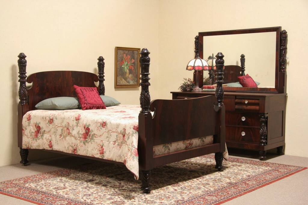 Empire 1900 Antique Carved Mahogany 2 Pc Queen Size Bedroom Set Ebay