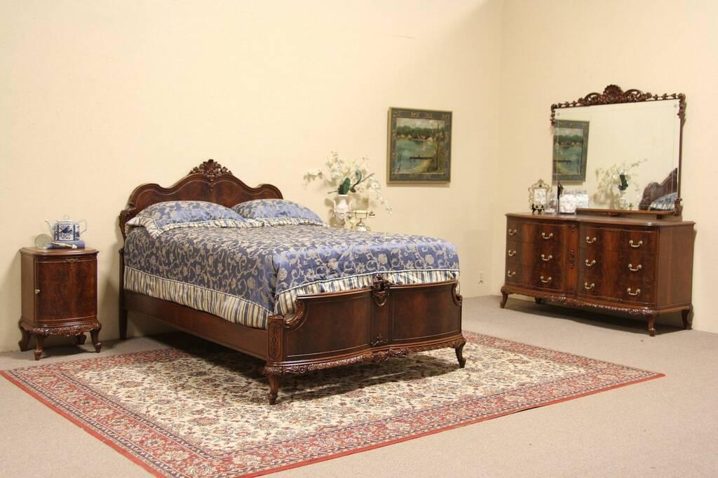 details about carved 4 piece 1940 vintage bedroom set full size bed