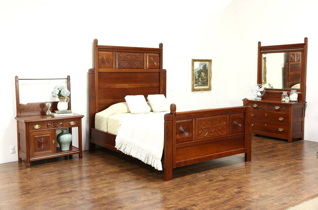 Sold Victorian 1890 Antique Carved Cherry 3 Pc Bedroom