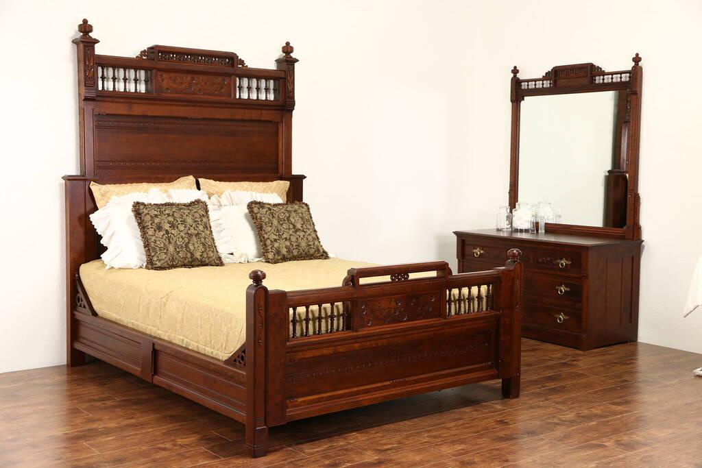 Sold Cherry Victorian Eastlake 1880 Antique Bedroom Set Queen Size Bed Dresser Harp