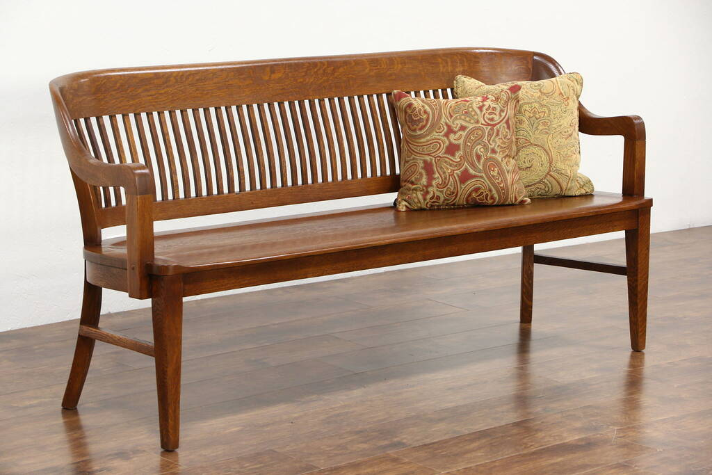 Sold Railroad Station Antique 1900 Oak Bench Signed Milwaukee Chair Harp Gallery Antique