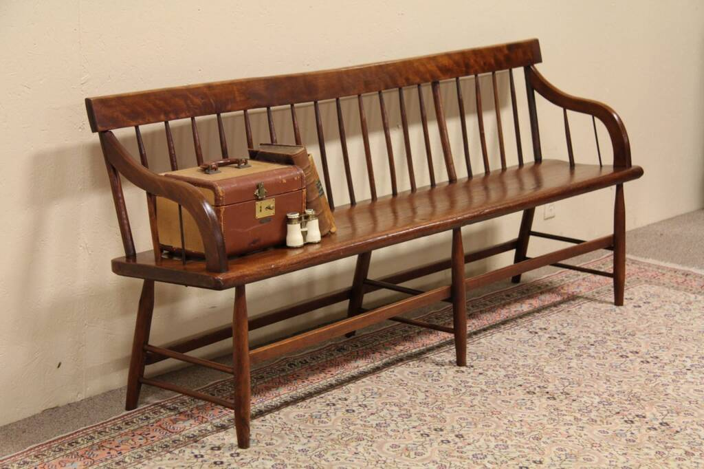 Sold Vermont Country Pine Deacon Hall Bench Settle Harp Gallery Antique Furniture