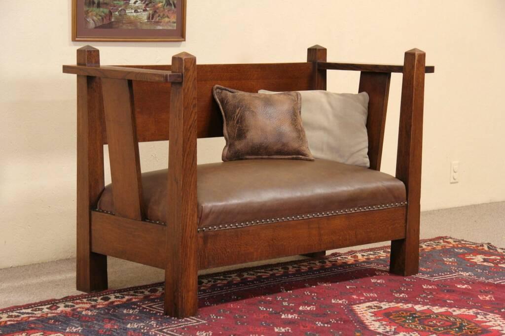 Sold Arts Amp Crafts Mission Oak Antique 1905 Sofa Bench