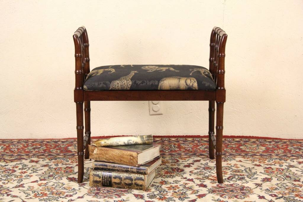 Sold Faux Bamboo Vintage Bench Animal Print Signed Baker Harp Gallery Antique Furniture