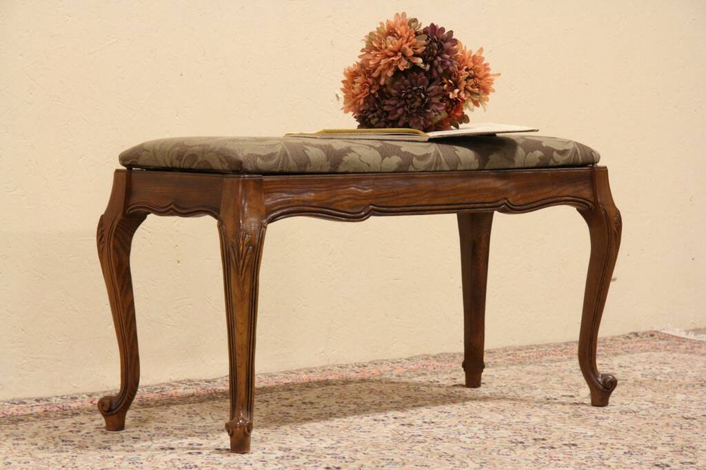 Sold Country French Carved Oak Piano Bench Harp Gallery Antique Furniture