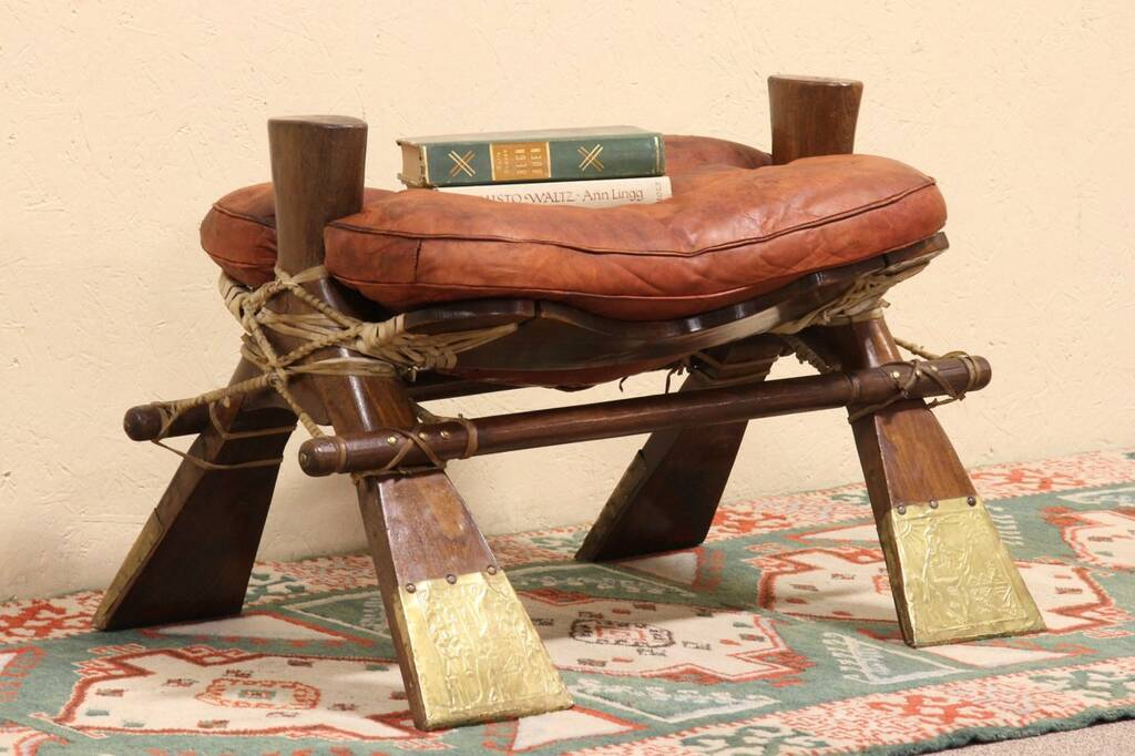 Sold Leather Camel Saddle Leather Bench Or Stool Harp