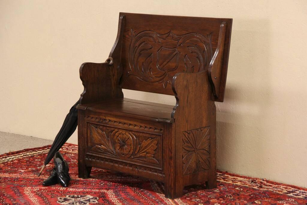 Sold English Tudor 1900 Antique Oak Bench Table