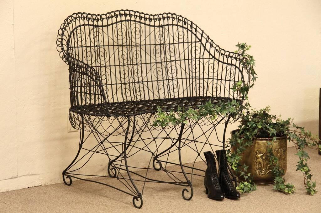 Sold Victorian Wire Antique Garden Bench Harp Gallery