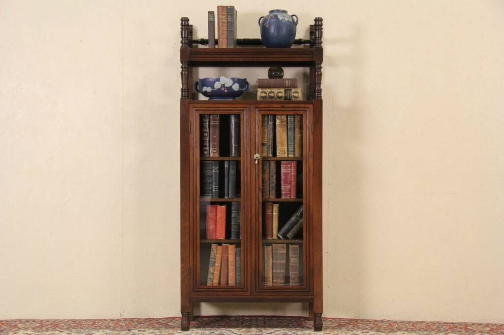 Antique oak library bookcase glass doors harp gallery antique - Sold Oak 1900 Bookcase Display Cabinet Glass Doors