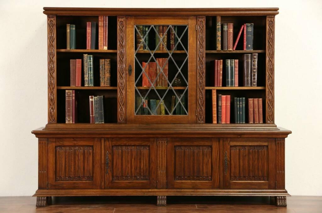 Sold Oak Dutch 1920 S Library Bookcase Leaded Glass
