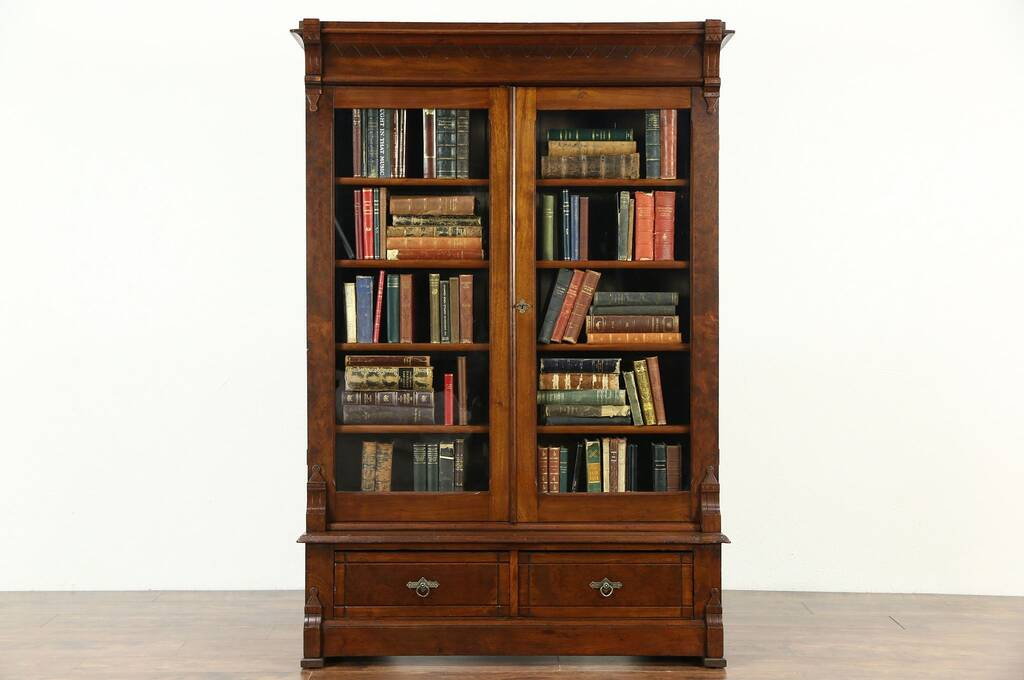 Antique oak library bookcase glass doors harp gallery antique - Sold Victorian Eastlake Walnut Antique 1875 Library