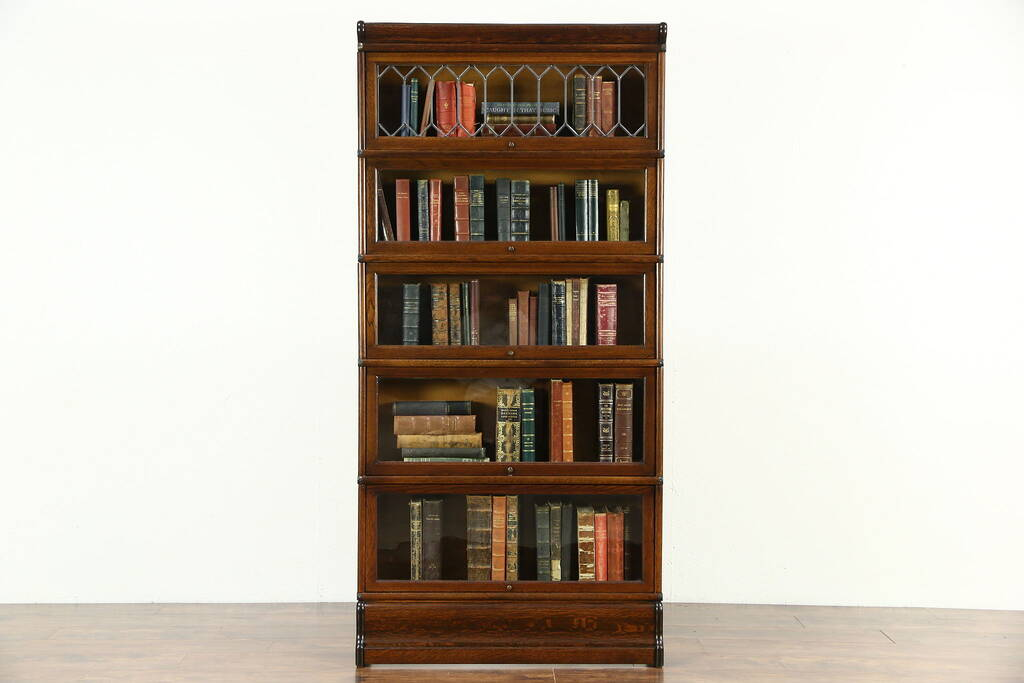 Sold Oak 1900 Antique 5 Section Stacking Lawyer Bookcase