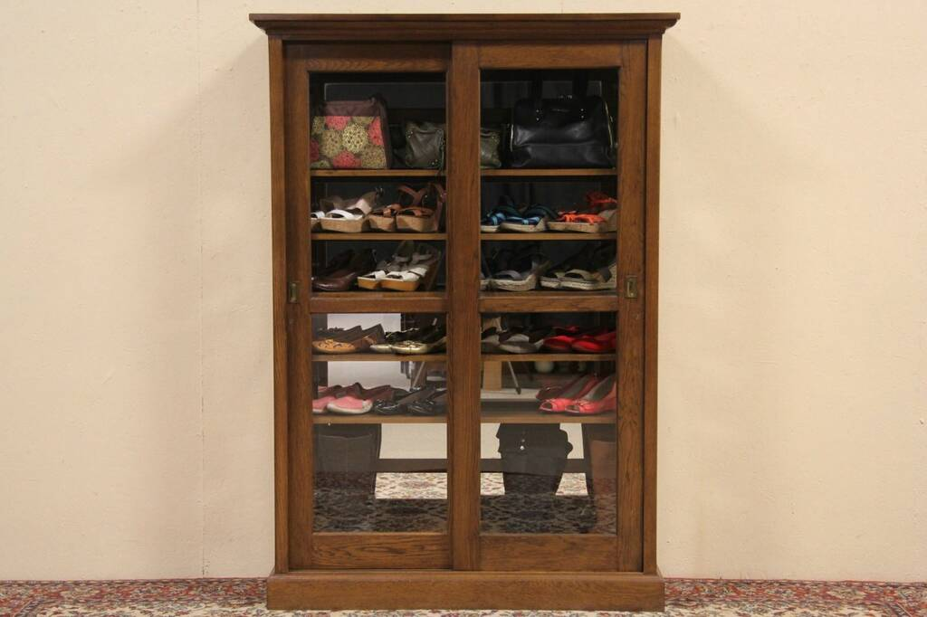 About Oak 1900 Antique Sliding Glass Door Bookcase Or Display Cabinet