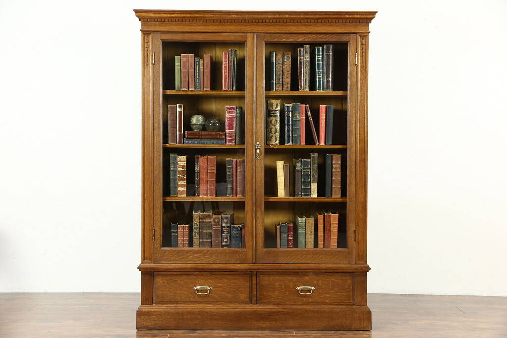 Sold Oak 1900 Antique Bookcase Glass Doors Adjustable