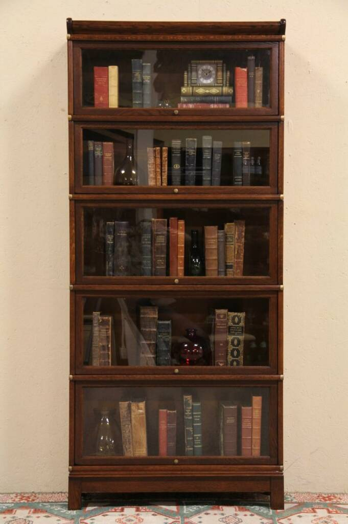 SOLD - Globe Wernicke 5 Stack Oak 1900 Antique Lawyer Bookcase - Harp Gallery Antique Furniture