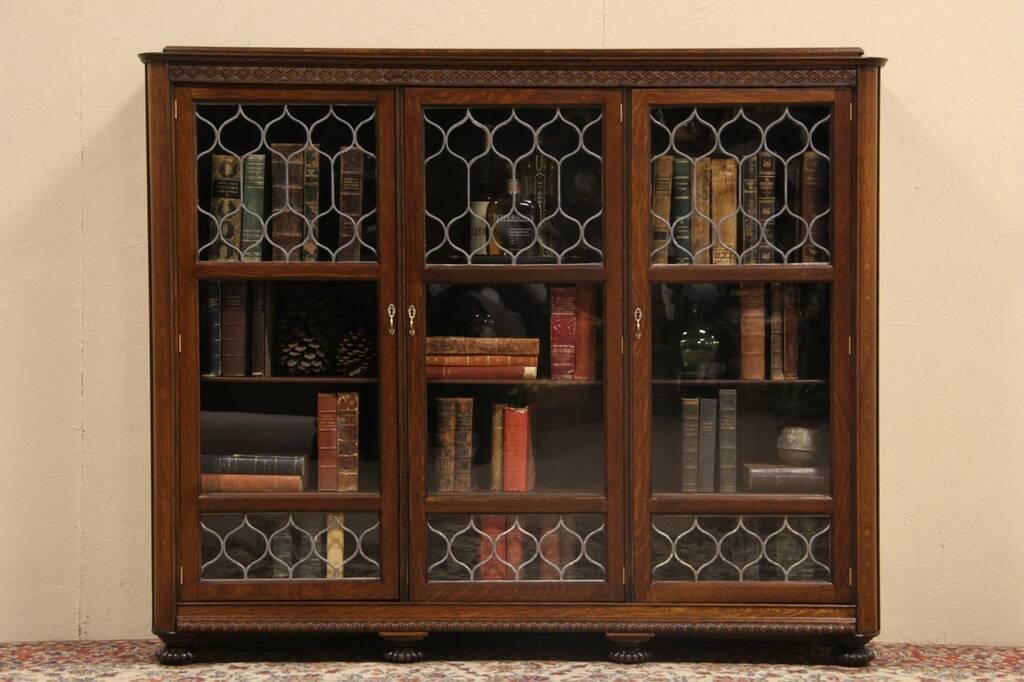 triple carved oak 1895 antique bookcase leaded glass doors ebay. Black Bedroom Furniture Sets. Home Design Ideas