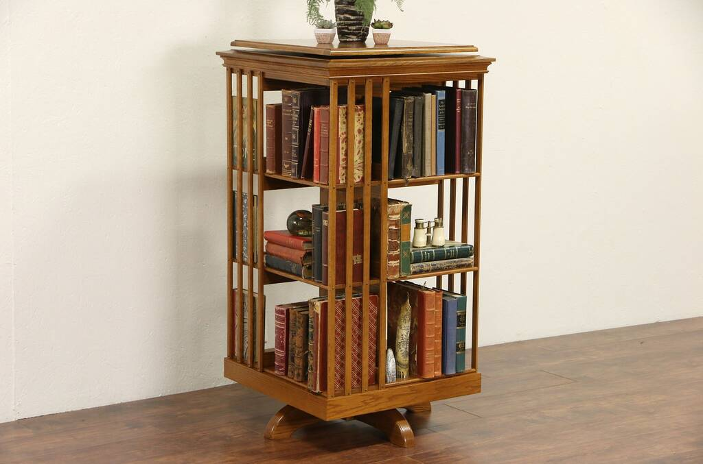 Sold Oak Vintage Spinning Or Revolving Chairside Bookcase Harp Gallery Antique Furniture