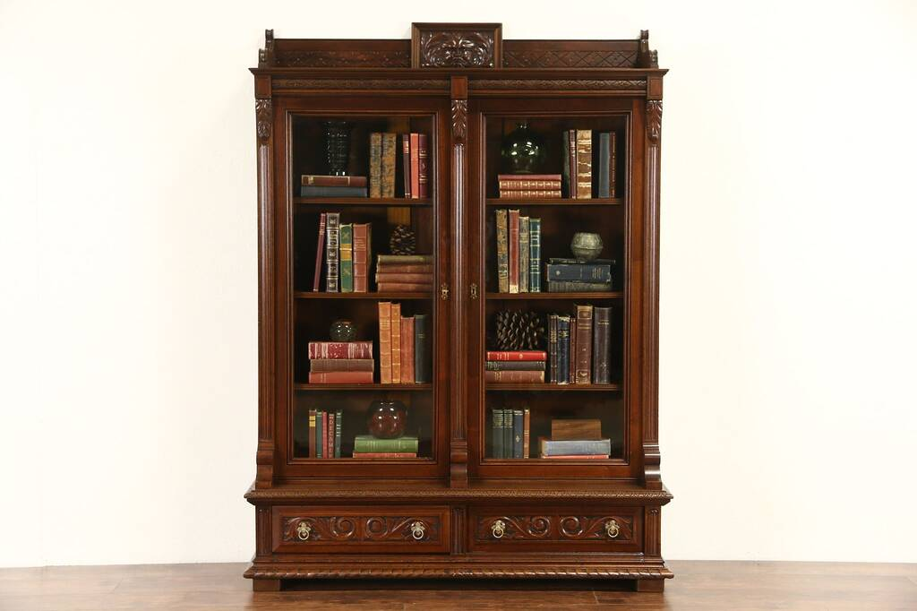 Sold Victorian 1880 Antique Carved Walnut Library