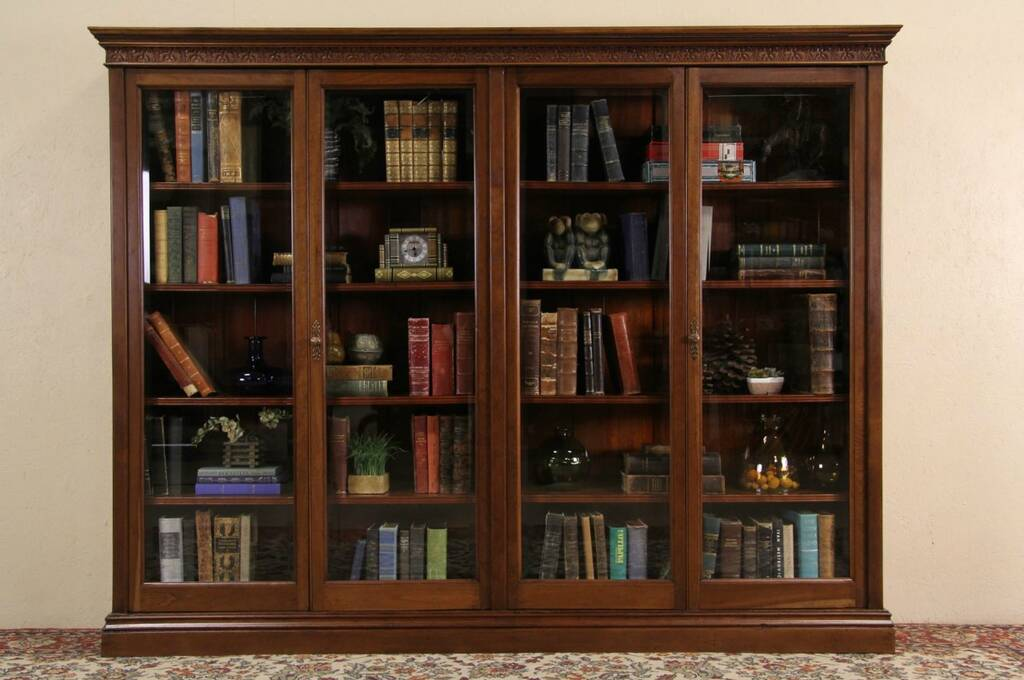 Sold Cherry 7 Antique 1900 Library Bookcase 4 Beveled