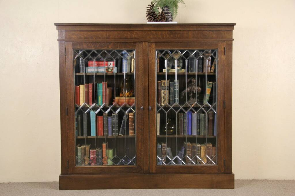 Sold Oak 1900 Antique Library Bookcase Leaded Beveled Glass Doors 1 Of 2 Harp Gallery