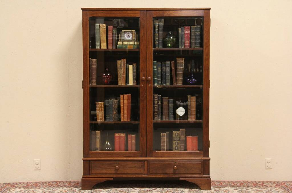 Beautiful Carved Antique Oak Bookcase W Glass Doors And Double Drawers EBay. - 29 Model Bookcases With Glass Doors And Drawers Yvotube.com