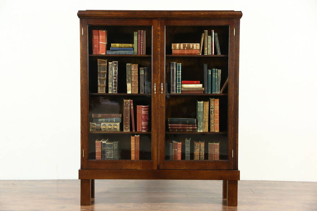 Sold Oak Quarter Sawn 1900 Antique Library Bookcase Wavy Glass Doors Harp Gallery Antique