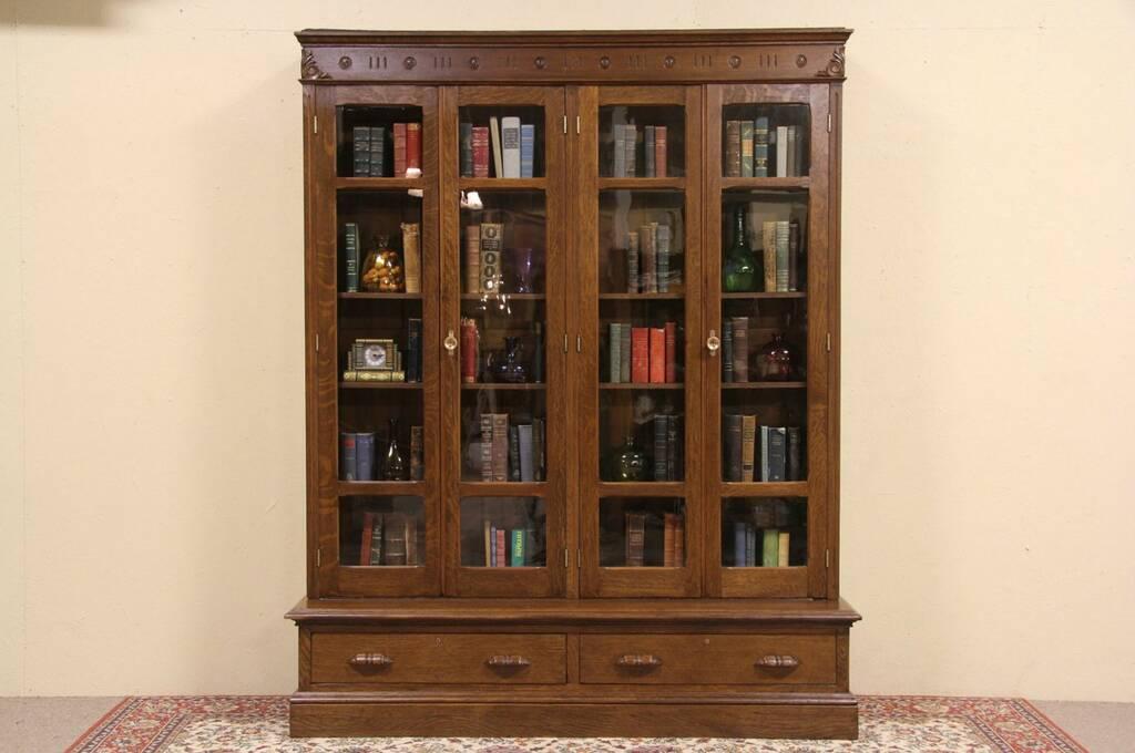 Sold Oak 4 Door Antique 1880 Bookcase Wavy Glass Doors