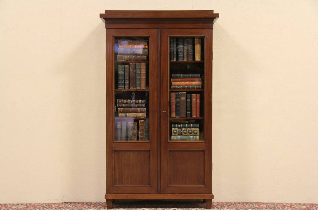 Antique oak library bookcase glass doors harp gallery antique - Sold Antique 1890 Mahogany Bookcase Wavy Glass Doors