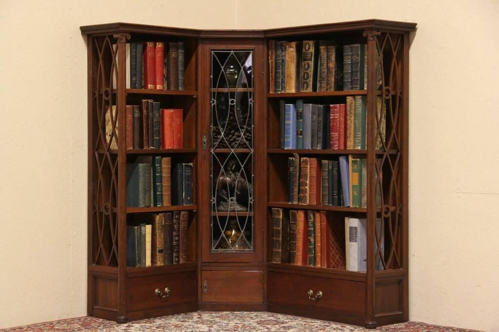 sold cherry 1890 antique corner bookcase leaded glass door harp gallery antique furniture. Black Bedroom Furniture Sets. Home Design Ideas