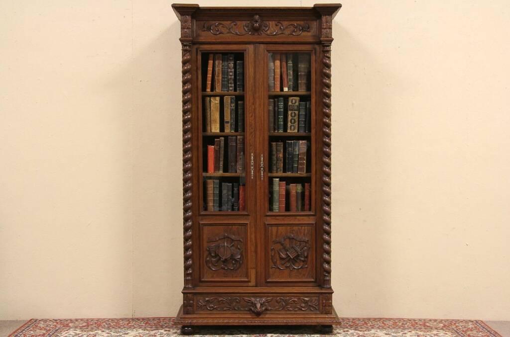 Antique oak library bookcase glass doors harp gallery antique - Sold Carved 1880 Oak Library Bookcase Spiral Columns