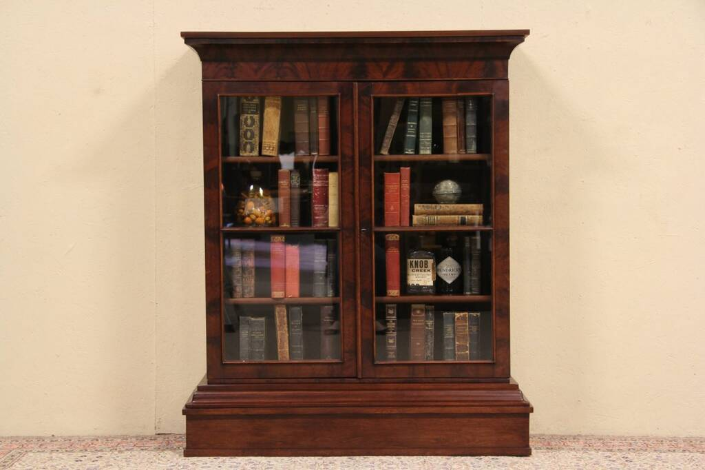 Details about Empire 1840s Antique Bookcase, Glass Doors