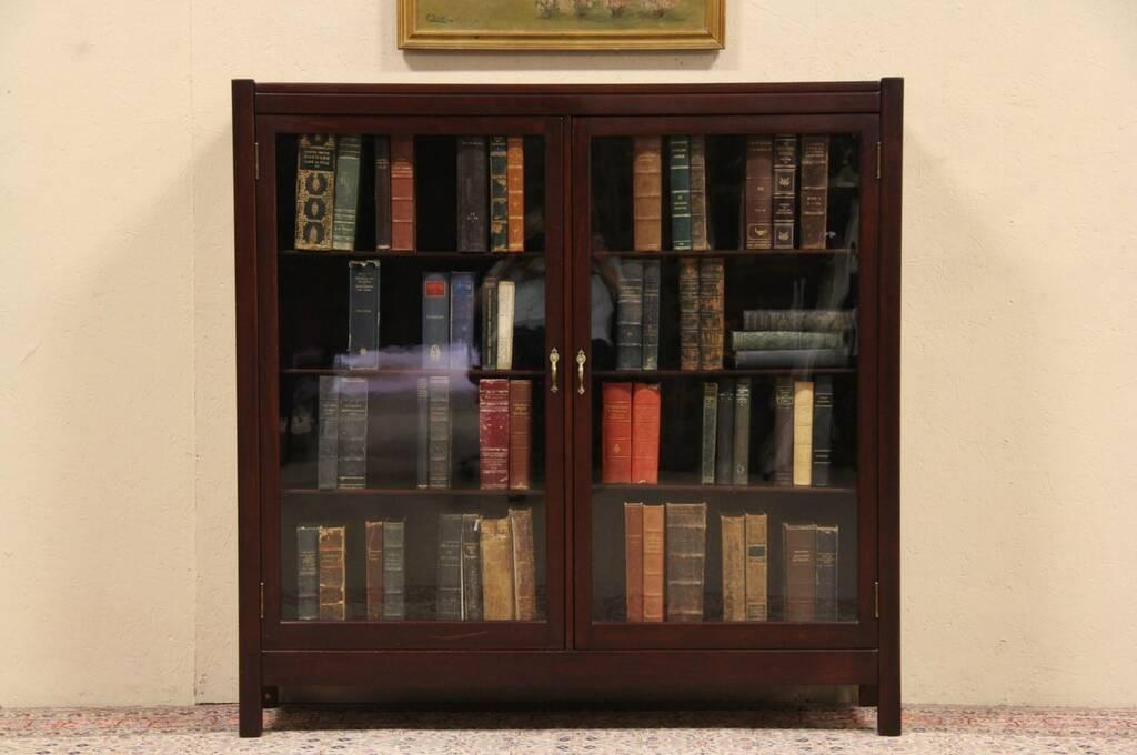 Antique oak library bookcase glass doors harp gallery antique - Sold Art Amp Crafts 1910 Antique Grand Rapids Bookcase