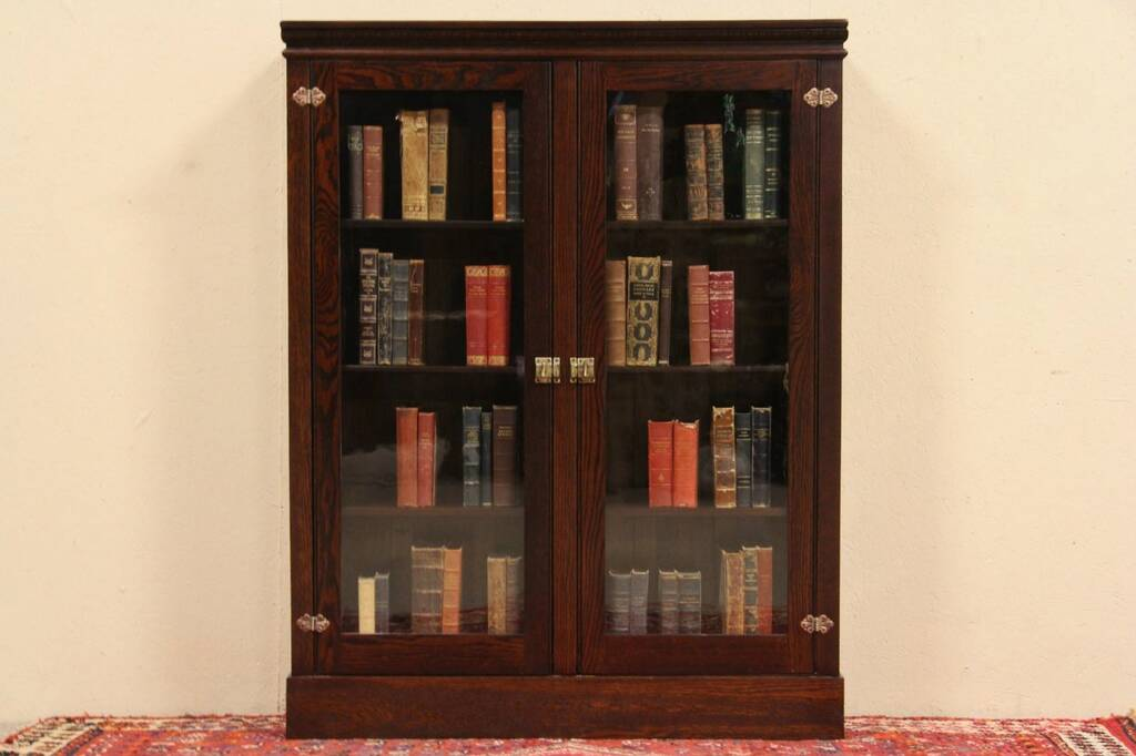Antique oak library bookcase glass doors harp gallery antique - Sold Oak 1900 Antique Bookcase Or Display Cabinet Wavy