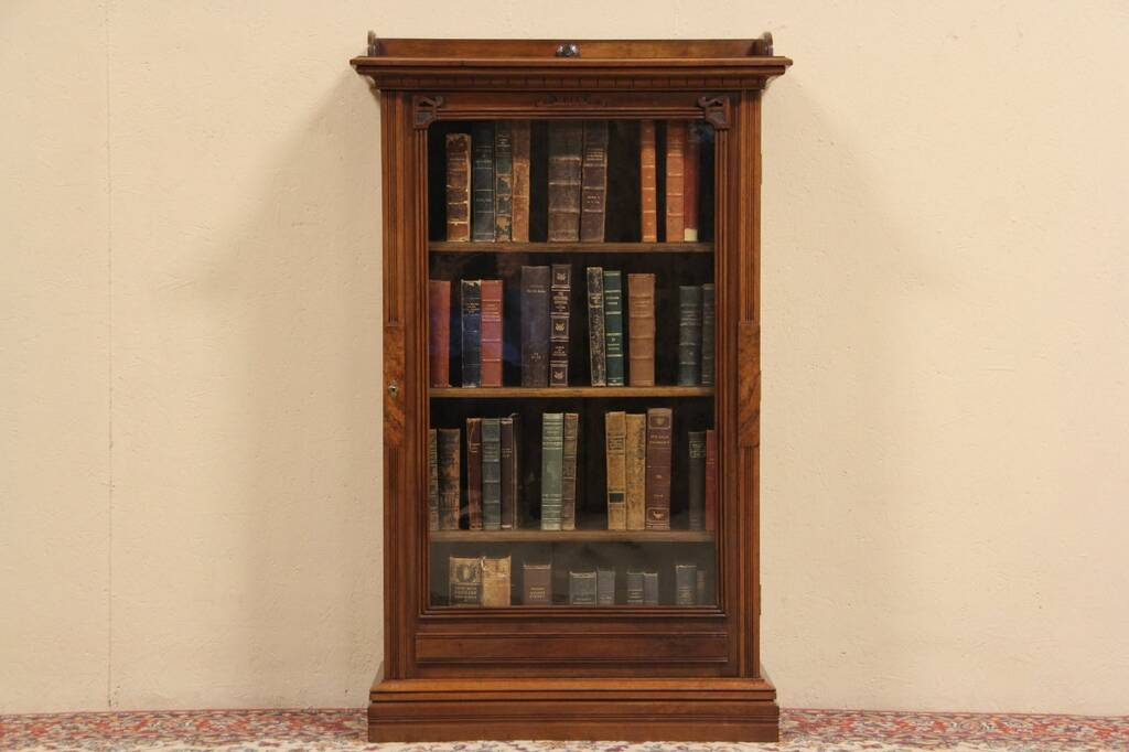 Victorian 1880 Antique Bookcase Wavy Glass Door Ebay