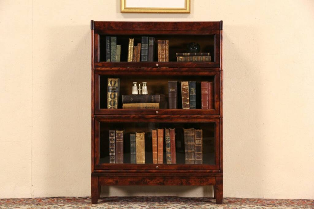 Antique oak library bookcase glass doors harp gallery antique - Sold Three Stack Mahogany Amp Birch Antique Lawyer Or