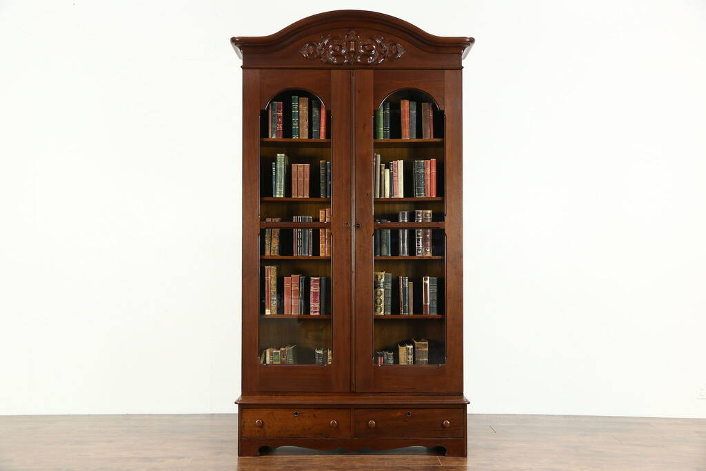 Sold Victorian 1860 S Antique Carved Walnut Library