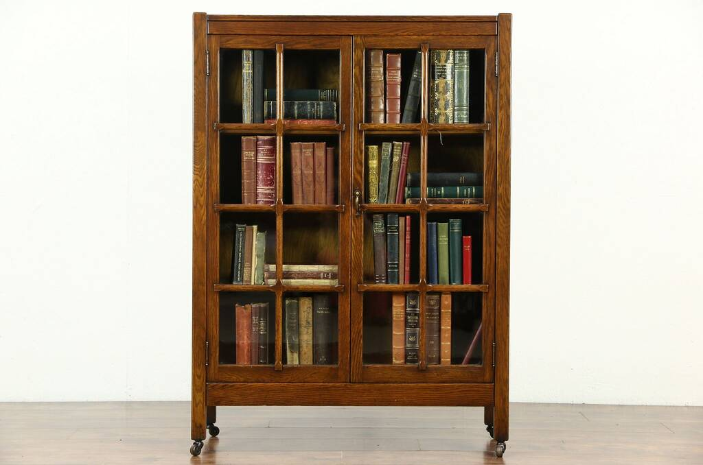 Antique oak library bookcase glass doors harp gallery antique - Sold Arts Amp Crafts Mission Oak 1900 Antique Craftsman