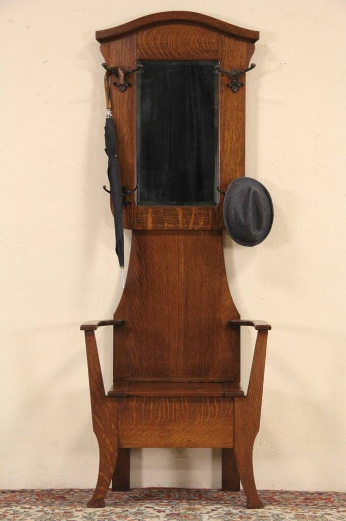Sold Oak 1900 Antique Hall Stand Coat Rack Mirror Amp Bench Harp Gallery Antique Furniture