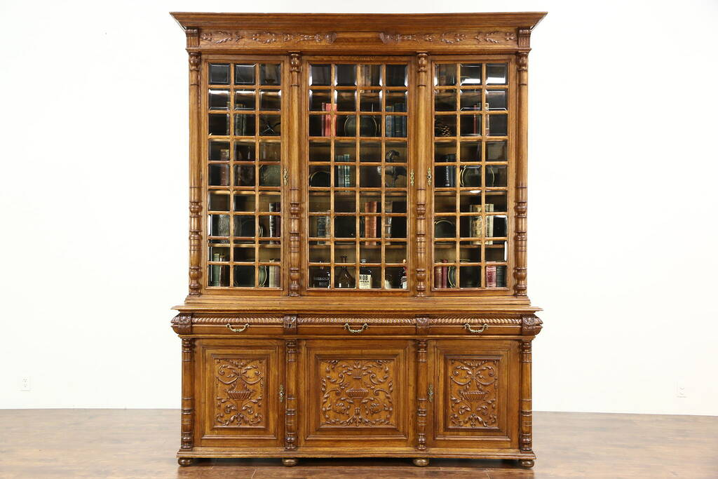 Oak Hand Carved French Antique Library Bookcase Beveled