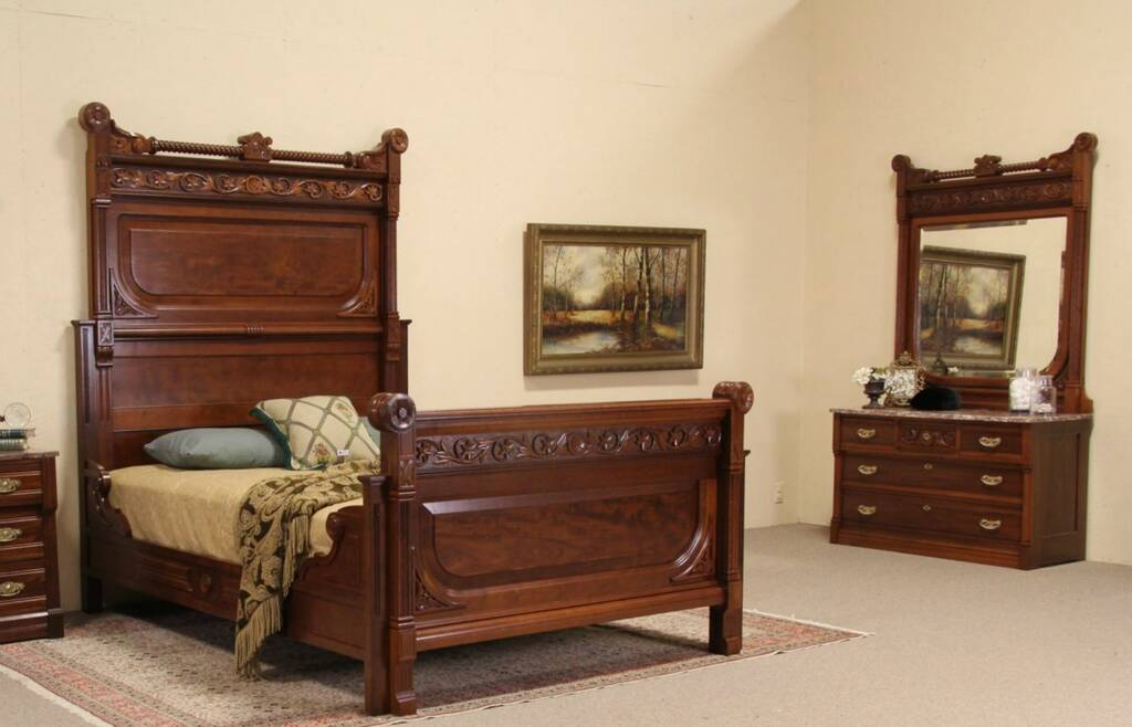 Victorian 1875 Antique Cherry Queen Size Two Piece Bedroom Set Marble Chest Ebay