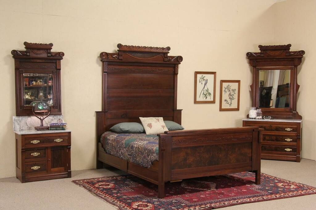 Victorian Eastlake 1885 Antique Queen Size Bedroom Set Marble Tops 3 Pc