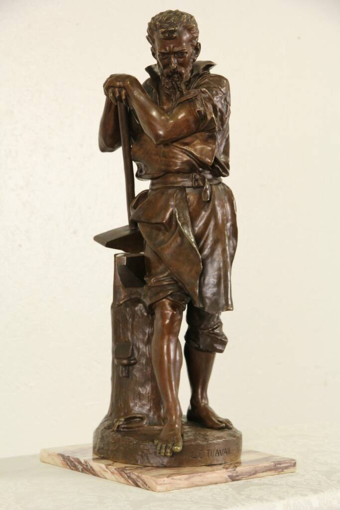 Sold Bronze Sculpture Le Travail Or Labor 1900 Antique French Statue Of A Blacksmith Harp