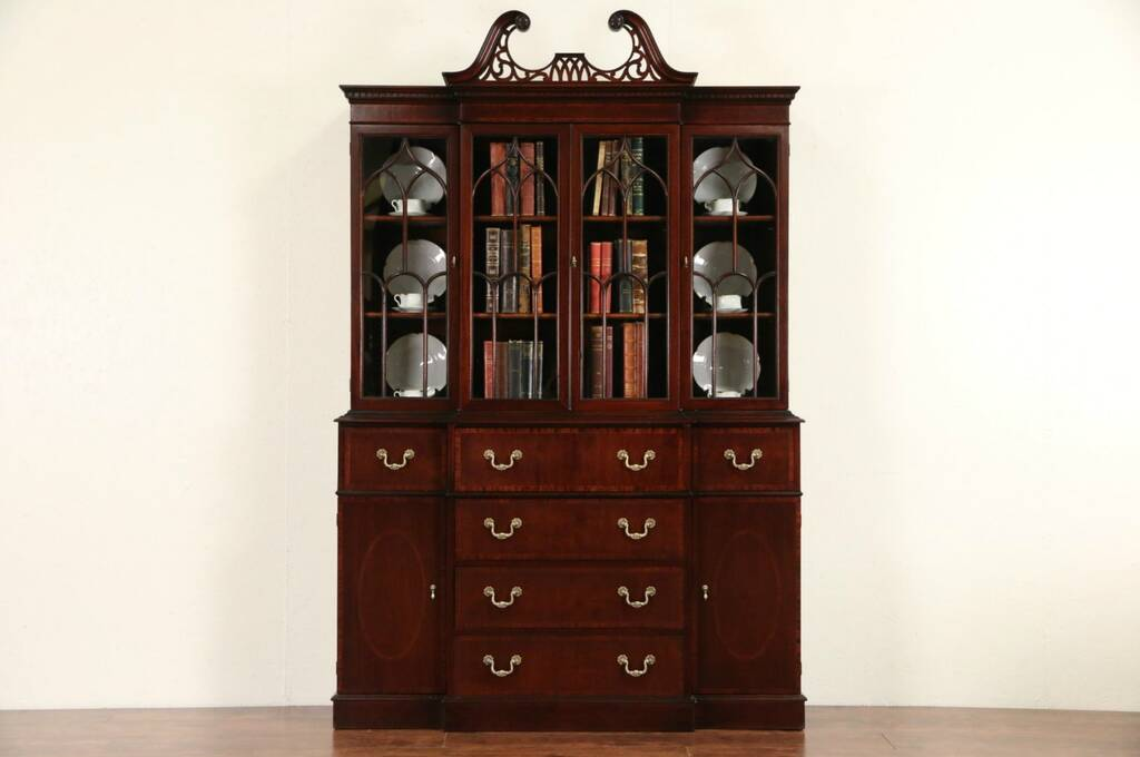Sold Georgian Traditional Breakfront China Cabinet Or