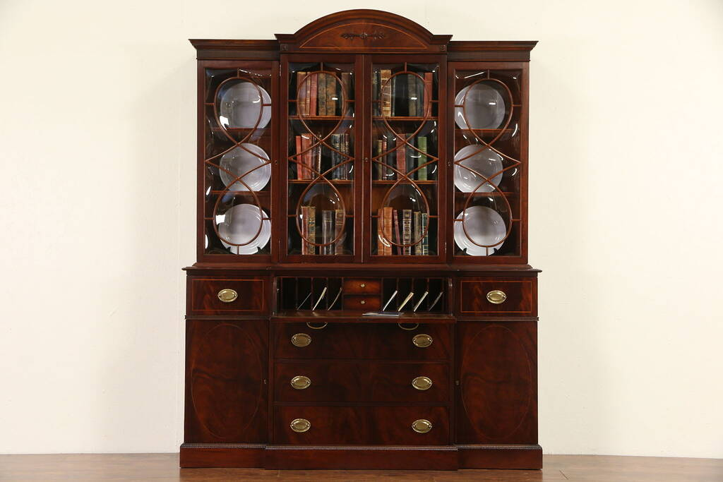Sold Traditional Mahogany Vintage Signed Breakfront