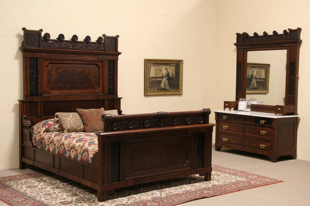 Sold Eastlake 1880 Antique 2 Pc Queen Size Bedroom Set