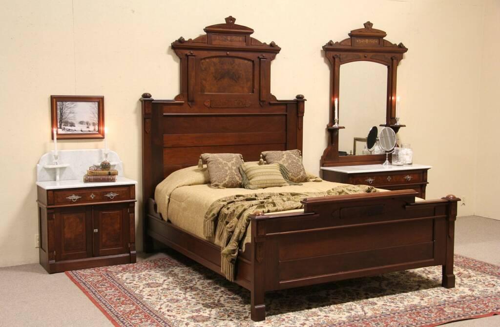 victorian renaissance 3 pc antique 1885 queen size carved bedroom set