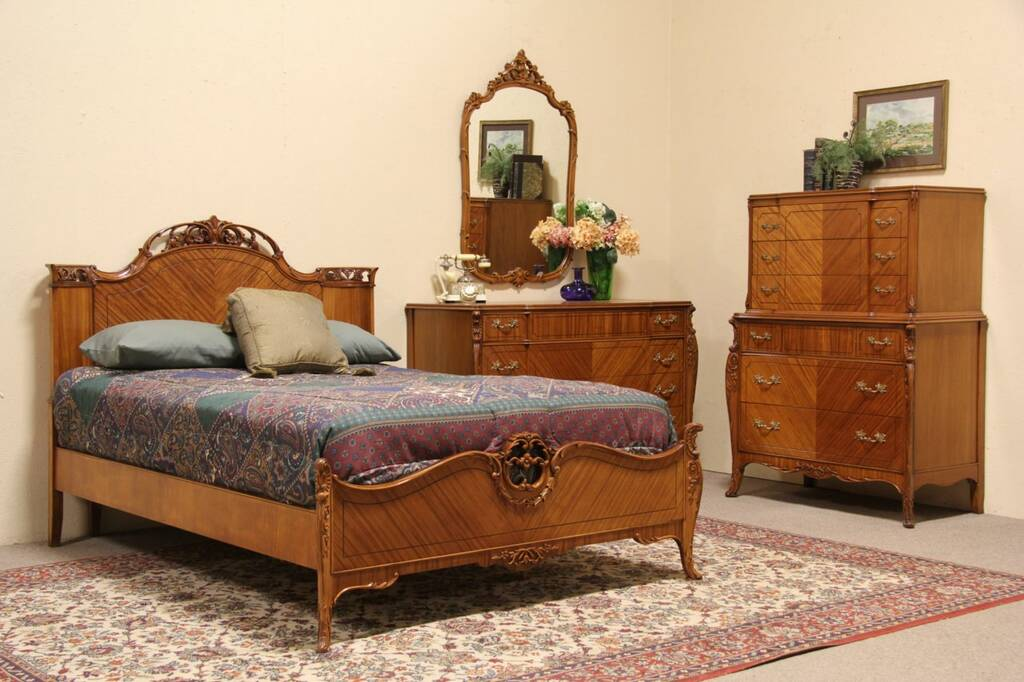 French style 1940 vintage 4 pc full size bedroom set ebay - Vintage bedroom set ...