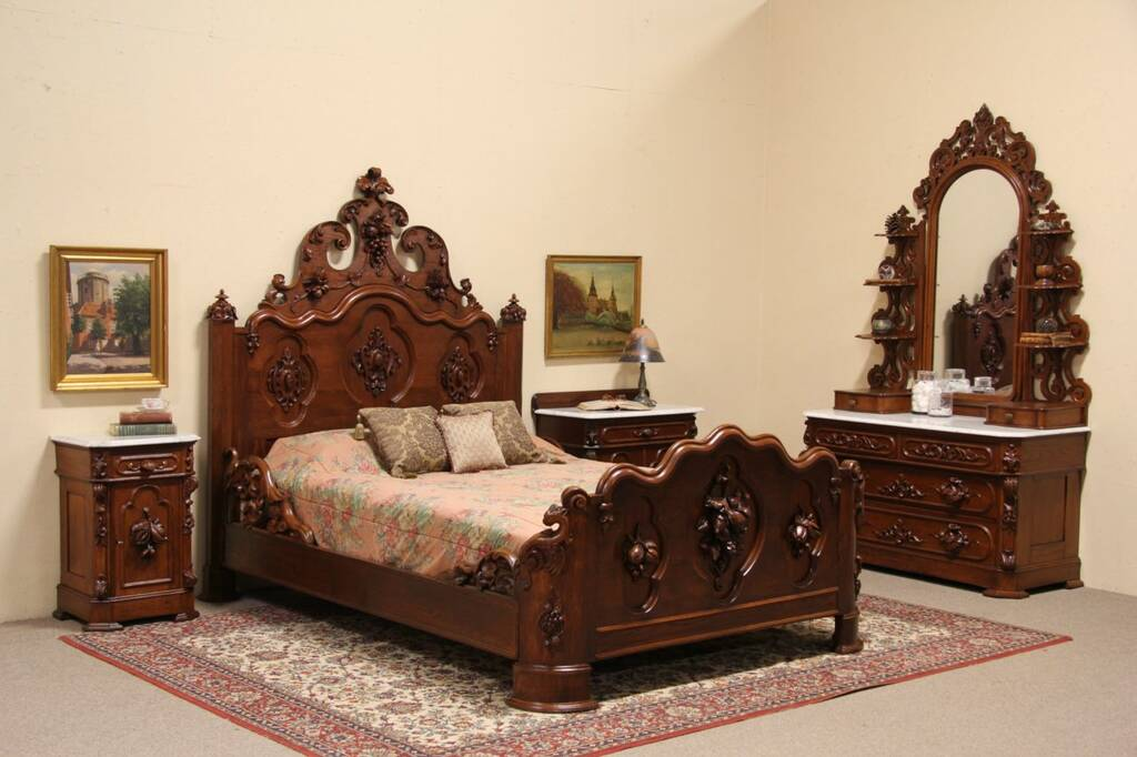Sold Victorian Carved Oak Chestnut 1860 Queen Size 4 Pc Bedroom Set Marble Tops Harp
