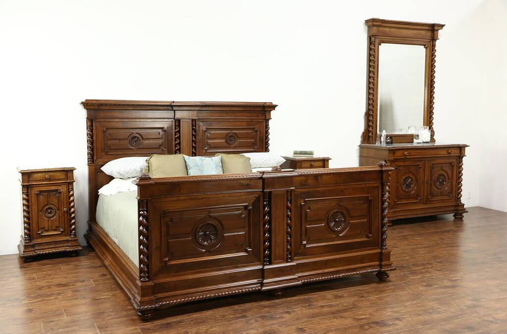 Sold Classical Italian Antique Carved Walnut King Size 4 Pc Bedroom Set Marble Tops Harp